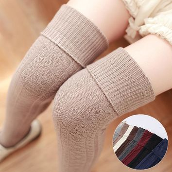 W145 2016 new winter/autumn thickness women high quality needle cotton knee high socks high tube stockings  free shipping