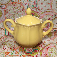 Buttercup Federalist Ironstone Yellow Japanese China Sugar Bowl with Lid and Scalloped Pattern