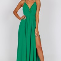 Lace Pleated Gown Green