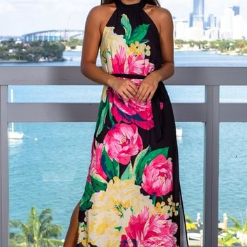 Black Floral Maxi Dress with Halter Neck