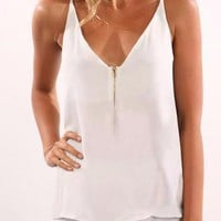 White V-Neck Zip Front Halter Cami Top