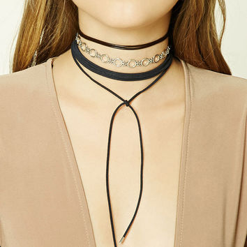 Layered Self-Tie Choker Set