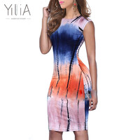 Yilia Party Club Mini Bodycon Dress Women 2017 Casual Tie-Dyed Gradient Colorful Personality Print Short Sleeve Vestidos
