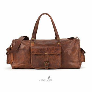 "21"" Handmade Moroccan goat Leather Duffel Carry on Bag"