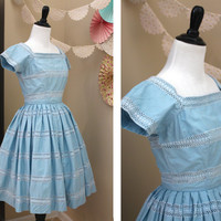Vintage 1940's JERRY GILDEN Powder Blue Eyelet Mid Century Rockabilly Fit and Flare Dress + X-SMALL
