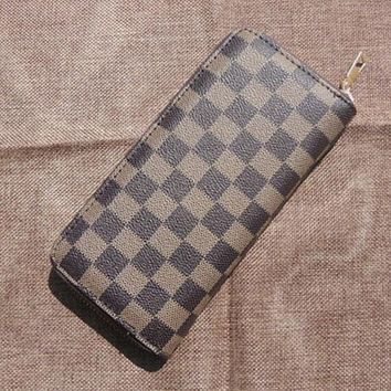 LV Stylish Simple Leather Single Zipper Handbag Wallet Purse Brown Plaid