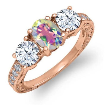 2.42 Ct Mercury Mist Mystic Topaz 18K Rose Gold Plated Silver Ring