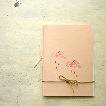 pink rain little journal sketchbook , hand  Stitched, travel Journal with house and plant  linocut, cloud and rain