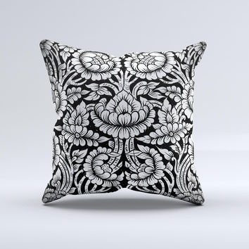 Black & White Mirrored Floral Pattern V2 Ink-Fuzed Decorative Throw Pillow