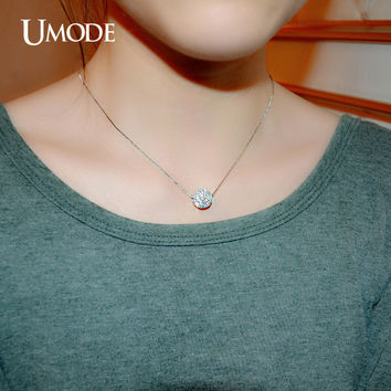 UMODE Full CZ Paved 12mm Spinner Ball Necklaces & Pendants Rhodium Color Scolar Vintage Accessories Jewelry UN0105