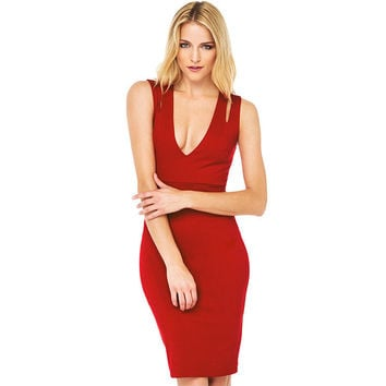 Red Deep V-Neck Cutout Shoulder Bodycon Sleeveless Midi Dress