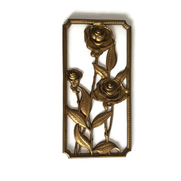 Syroco Wood Wall Plaque Gold Roses Hollywood Regency Vintage c1930