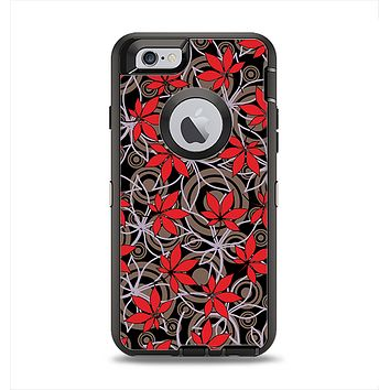 The Red Icon Flowers on Dark Swirl Apple iPhone 6 Otterbox Defender Case Skin Set