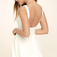 Call Me Anytime White Backless Skater Dress