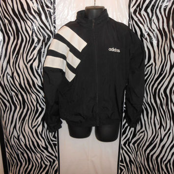 Vtg 90s Black Adidas Windbreaker Hip Hop Track Jacket Size M