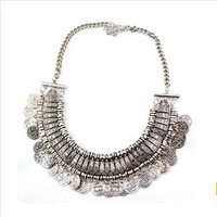 Vintage Coin Cluster Collar Necklace