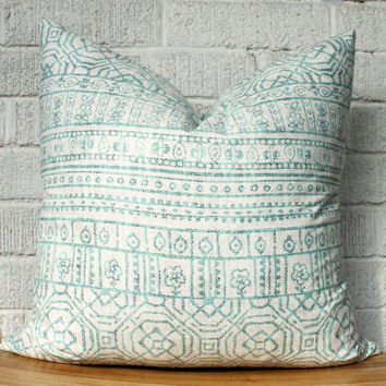 Pale Blue and White Kilim Pillow Cover, Tribal, Aztec, Boho, 18 inch square