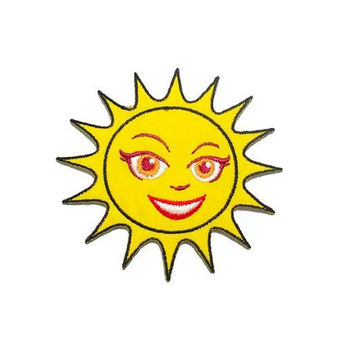 Yellow Sun Smiley Beautiful Face New Iron On Patch Embroidery Applique size 8.5cm.x8cm.