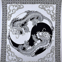 Black & White Color Dragon Indian Tapestry Hanging Double Bed Sheet TIUK DBS181