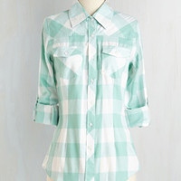 Rustic Mid-length 3 Simply Scout Top in Mint by ModCloth