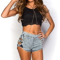 Betty Blue Acid Wash Stretch Denim Bow Cut Out Jean Short Shorts
