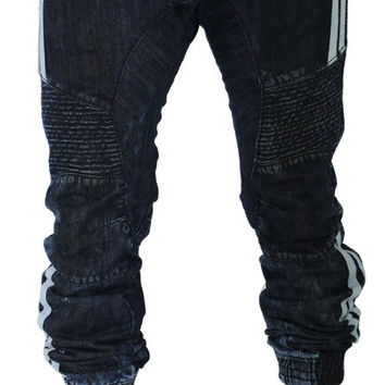 Smoke Rise Men's Moto Denim Joggers Pants Jeans