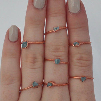 Apatite crystal ring - thin stacking ring - blue crystal ring - rough crystal ring - copper crystal ring - boho ring - raw stone ring