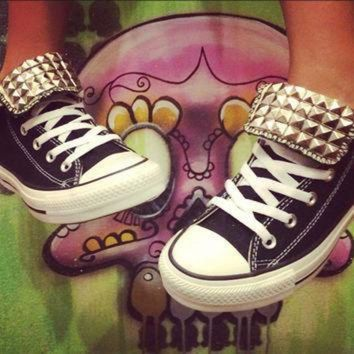 DCCK1IN black custom studded converse all star high tops chuck taylors all sizes colors