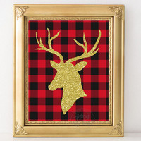Gold deer head, gold glitter deer, buffalo plaid print, plaid, Christmas deer, Christmas decor, wall art, printable, print, Instant download