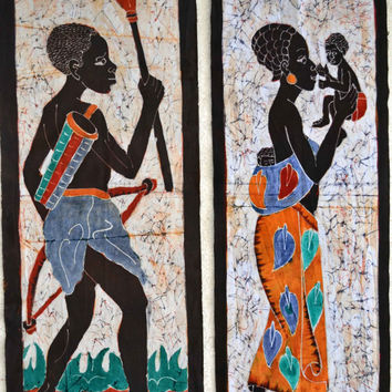 African Art, Ethnic Art, African American Art, Batik, Home Decor, Afrocentric Art, Black Art, Tribal Art, African Batik, Afro Cuban Art