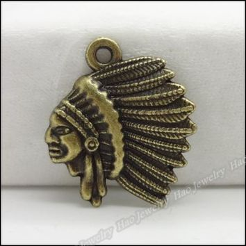80pcs Vintage Charms Native American Indian Chief  Pendant Antique bronze Zinc Alloy Fit Necklace DIY Metal Jewelry Findings