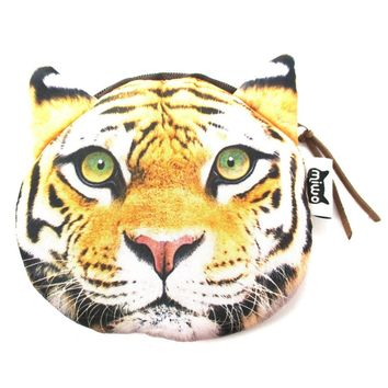 Realistic Tiger Face Shaped Soft Fabric Zipper Photo Print Coin Purse Make Up Bag