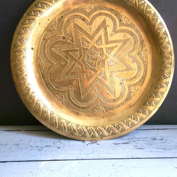 Vintage Brass Tray/ Brass Plate/ Brass Plate with star/ Brass Vanity Tray