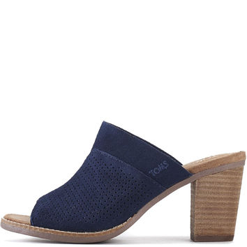 Toms for Women: Majorca Mules Navy Nubuck Perforated