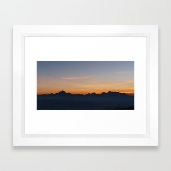 Mountain Range Silhouette Framed Art Print by Mixed Imagery
