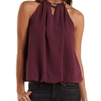 Beaded Necklace Bubble Hem Halter Top by Charlotte Russe - Purple