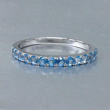 Topaz Wedding Band,Solid 14K White gold,Anniversary Ring,Half Eternity Ring,Engagement stackable ring,Prong Set,Valentine's Gift,Swiss Blue