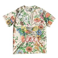 GUCCI New fashion embroidery letter badminton racket and floral leaf print top t-shirt women