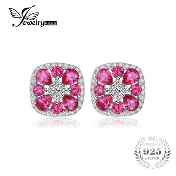 JewelryPalace Classic 2.8ct Created Ruby Stud Earrings For Women Real S925 Sterling Silver Fine Jewelry Vintage Square Earrings
