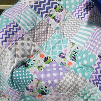 Modern Baby quilt,patchwork crib quilt,baby boy bedding,baby girl blanket,woodland,rustic,teal,grey,purple,owls,chevrons,dot,Night Owls