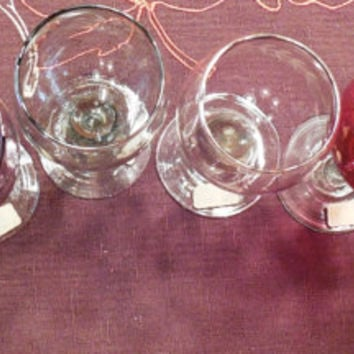 Glass Sherry Glasses, Vintage Set of 6 Blown Glass Etched Sherry Stemware in Cranberry, Yellow, Green, Blue, Clear and Brown