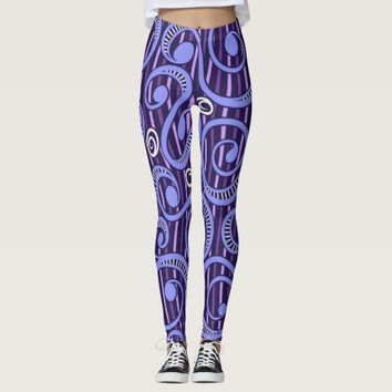 Pink Purple Tossing Vines Leggings
