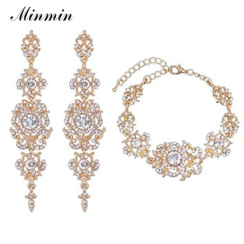 Minmin Gold-color Crystal Rhinestone Wedding Jewelry Sets Bracelet Earrings Sets for Brides Bridesmaird SL031+EH182-gold