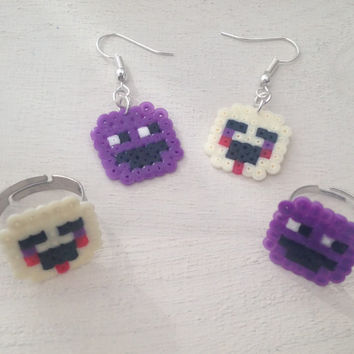 Five Nights at Freddy's 2 inspired Perler Bead Earrings and Rings