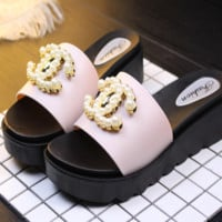 CHANEL new summer fashion woman  hick-soled pearl slippers Apricot