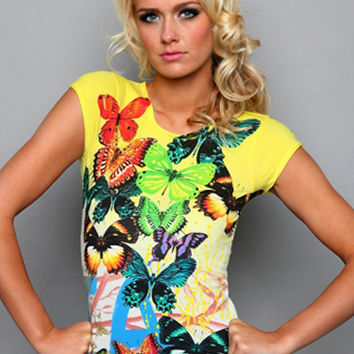 Yellow Butterfly Print Casual T-Shirt