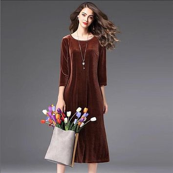 Brand good quality womne three quarter sleeve long office velvet dress,plus size M- 6XL 7XL Elegant winter velour dress
