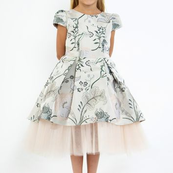 Girls Champagne Floral Jacquard & Peek Tulle Hem Dress 4-14