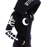 Gothic Symbols Witchcraft oversized hood Gothic Alternative Goth black hoodie