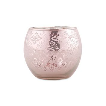 Small Glass Globe Votive Holder With Reflective Lace Pattern (6) - Pink - The Knot Shop